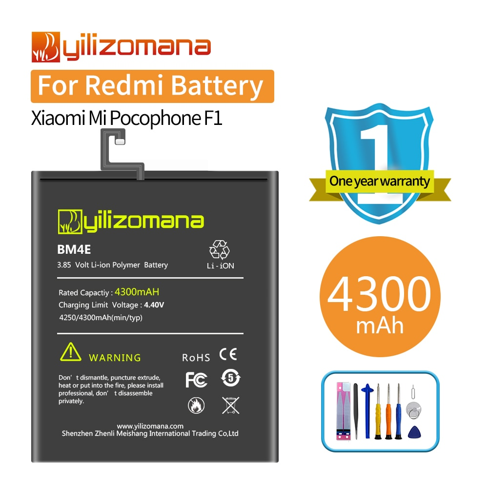 YILOZOMANA BM4E Replacement Phone Battery for Xiaomi Mi Pocophone Poco F1 4300mAh High Capacity Batteries +Tools недорого