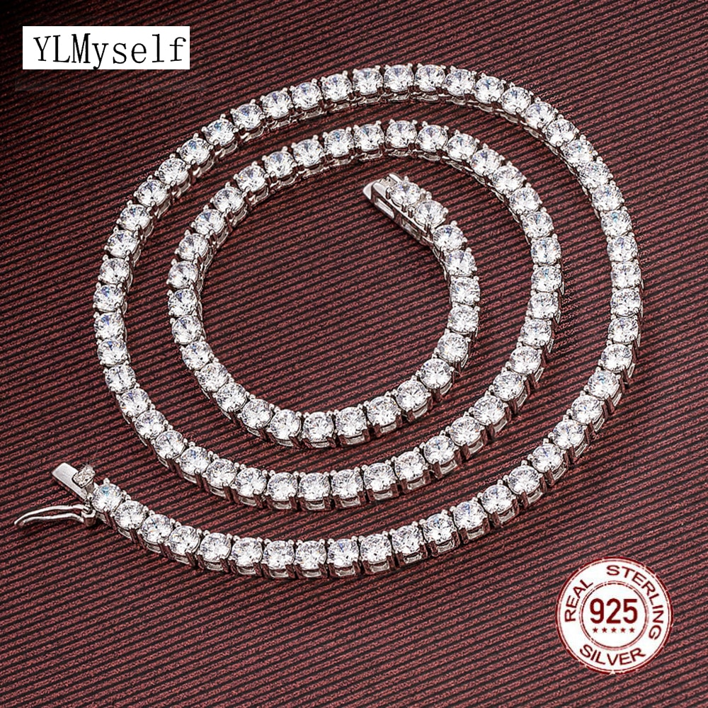 Review 16-24 Inch 100% Guarante Real 925 Sterling Silver Pave 2mm/3mm/4mm Sparkly Zircon Tennis Chain Necklace HipHop Rock Fine Jewelry