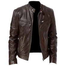 Hommes veste automne hiver col montant fermeture éclair veste en cuir hommes moto veste courte manteau coupe-vent hommes veste en cuir