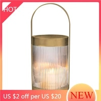 simple glass pillar candle holder centerpiece nordic metal creative candle stand luxury porta candele home decoration ah50ch