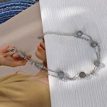 2020 new jewelry bracelets for women Korean version moonstone pure lovely double layer women bracelet lady's elegance