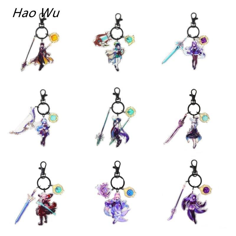 Genshin Impact брелок с рисунком в виде аниме Ganyu Zhongli Venti, акриловый новый элемент оружия, роскошное кольцо для ключей, подвеска для ключей, коллекц...
