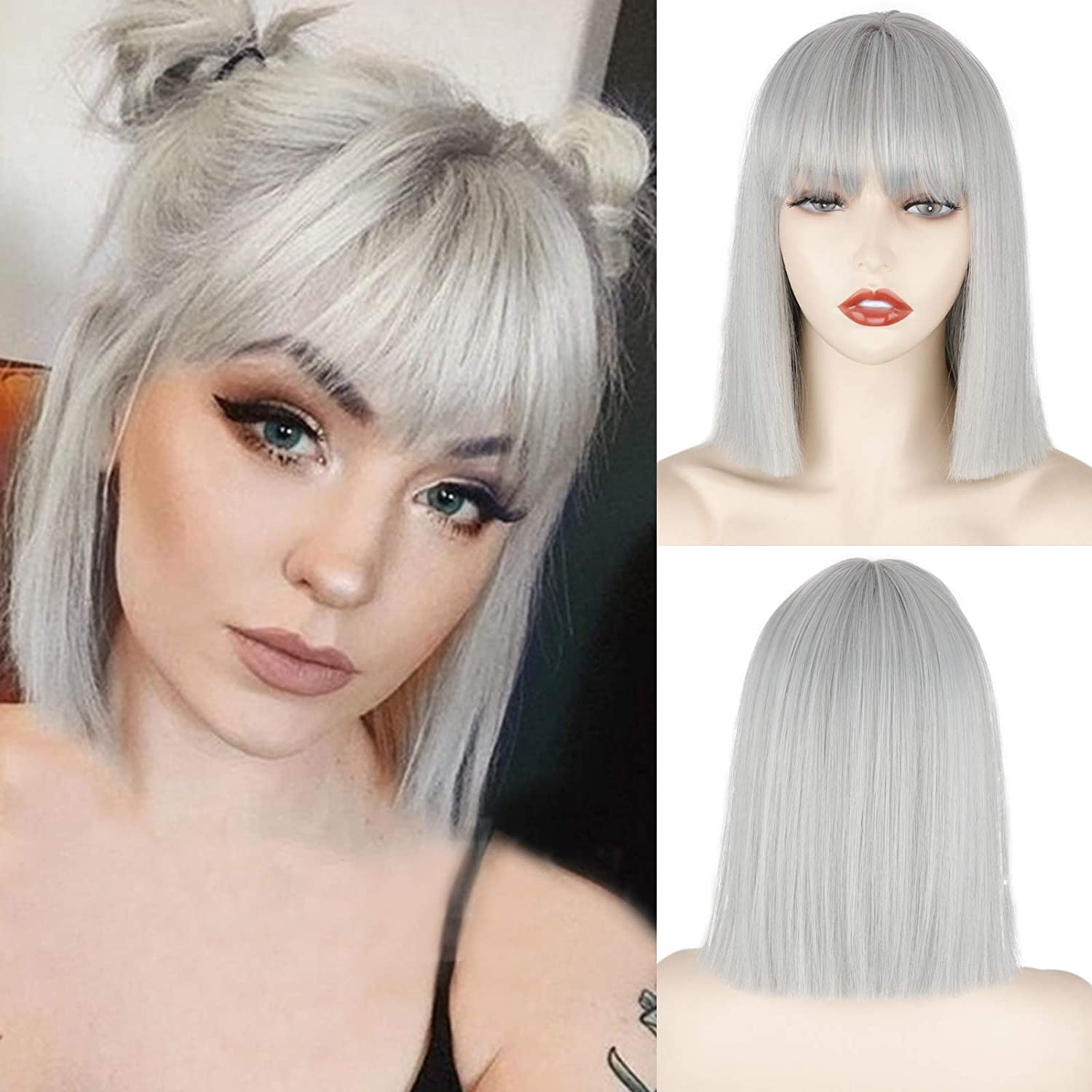 Short Silver Gray Bob Wigs with Bangs,Short Straight Bob Silver Grey Wigs for Women,Natural Looking Cosplay Daily Party Wig
