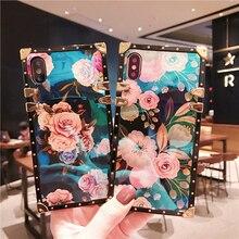 Funda para Samsung S8 S9 S10 Plus Luxury Square azul Ray remache Rose funda para Samsung A30 A50 A70 A750 Note8 Note9 Note10 pro cubierta
