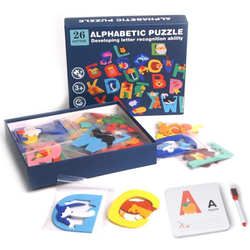 Juguetes de lenguaje Montessori para niños, puzle de diseño ABC, bloques de...