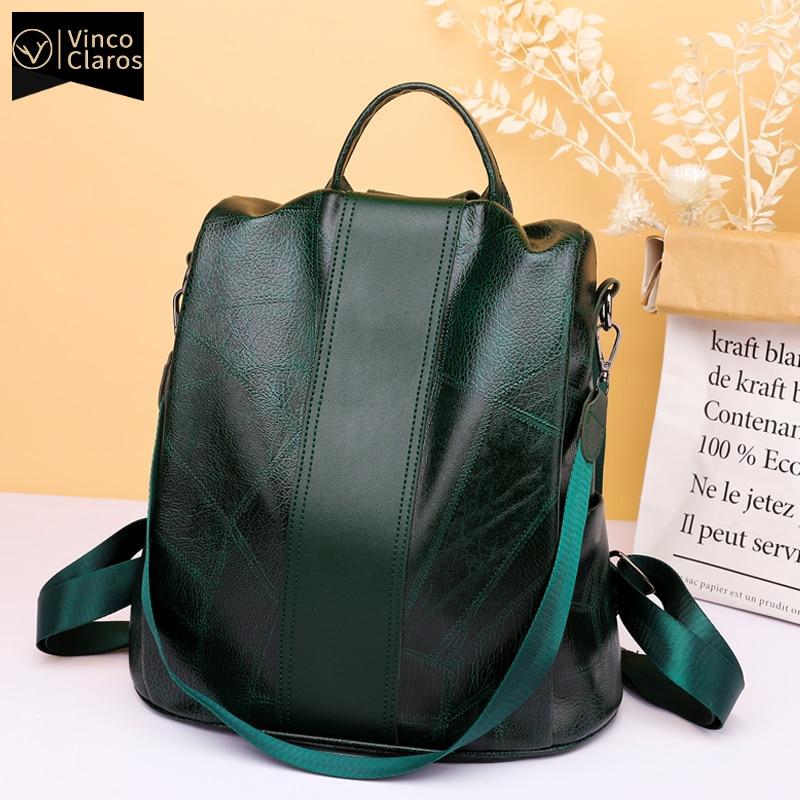 Middle Size Women Backpack Leather Large Capacity Travel Backpacks for Teenager 2020 Designer Bags for Women Mochila Rain Cover