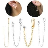 starbeauty 1pc golden rhinestone water drop tassel earring stud helix piercing chain clip earrings for women ear cuff jewelry
