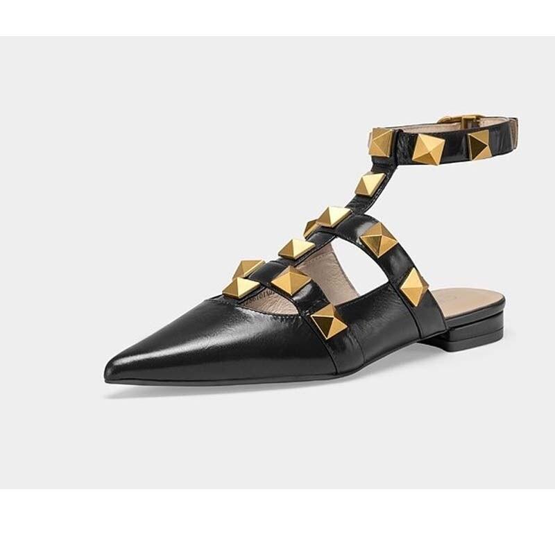 حذاء نسائي مسطح ذهبي مخرم ، صندل روماني منسوج ريترو ، حذاء كاجوال أسود للنساء ، صيف 2021