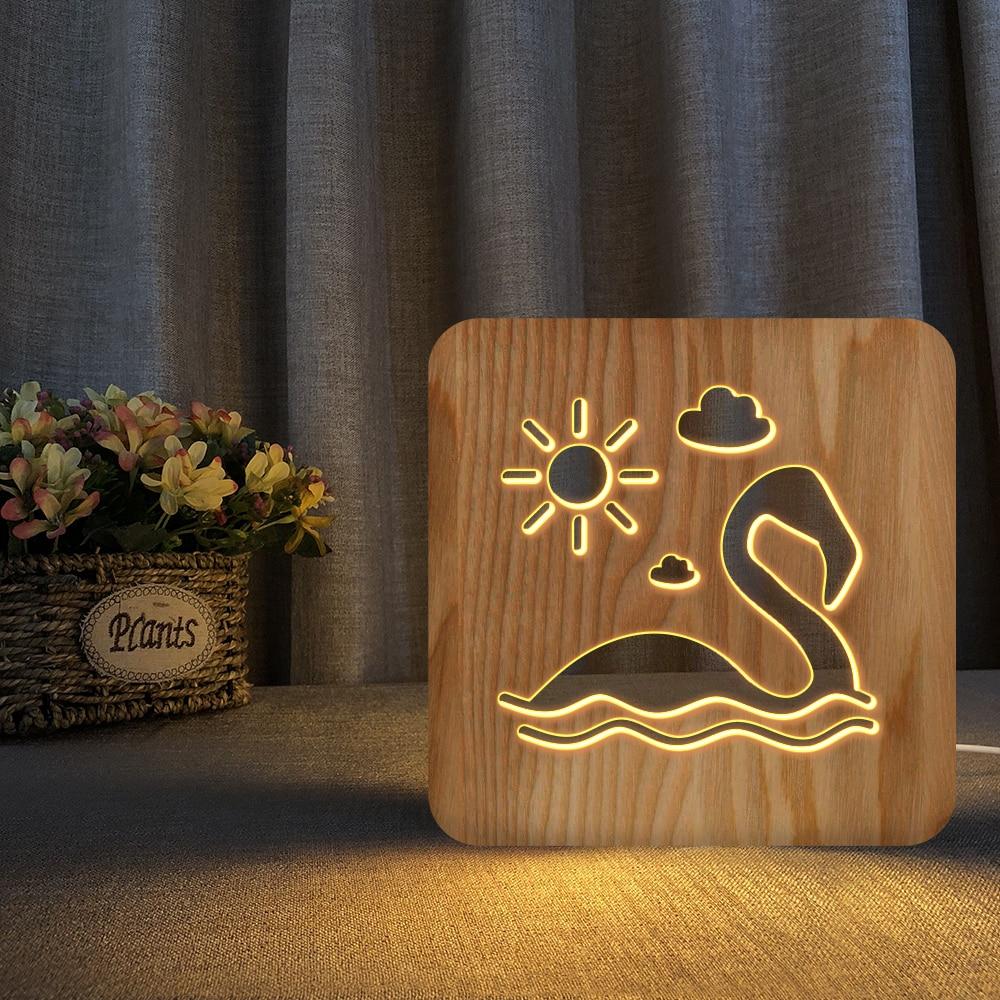 Kuğu kelebek balina 3D LED ahşap gece lambası içi boş masa lambası USB güç masa işıkları bebek çocuk noel yeni yıl hediye