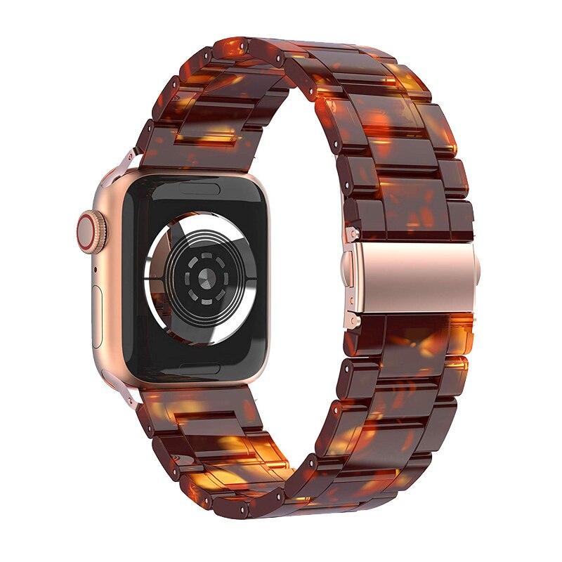 Correa de resina para apple watch banda 44mm 40mm 42mm 38mm iwatch series 5/4/3/2/1 pulsera con hebilla de acero inoxidable