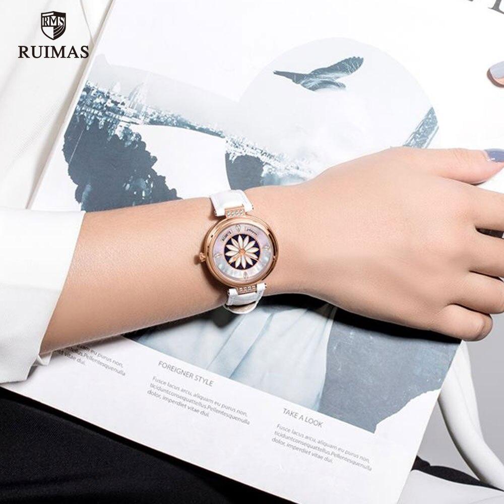 RUIMAS Luxury Automatic Watches Women Top Brand Genuine Leather Watch Ladies Waterproof White Wristwatch Relogios Femininos 6776 enlarge