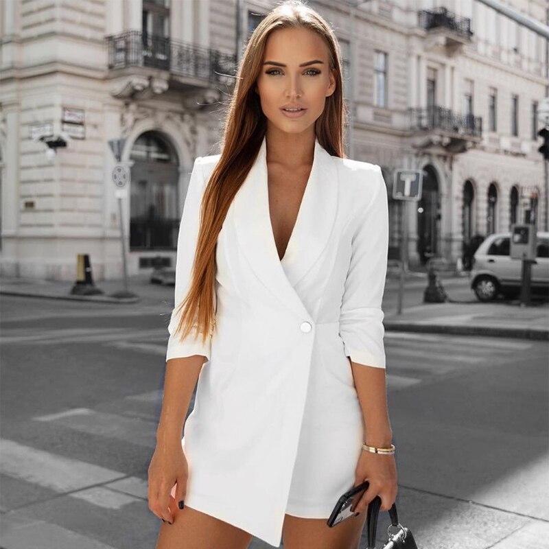Elegante minivestido de verano para mujer, falda, pantalón, traje OL, manga larga de 7 puntos, Chaqueta de punto, camisa, Chaqueta de traje para mujer
