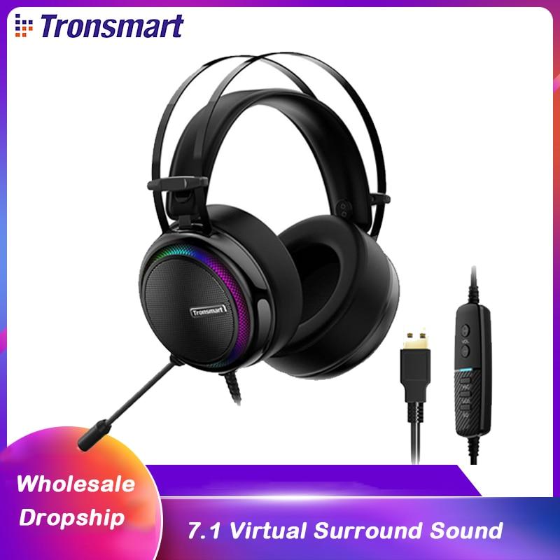 الأصلي Tronsmart Glary السلكية سماعة الألعاب 7.1 مع RGB ضوء USB ل xbox-one/PS4/pc/الكمبيوتر مع ميكروفون سماعات رأس gamer