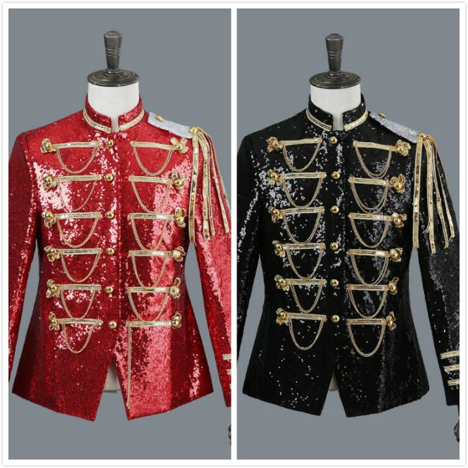Jacket PerforMence Mens Tuxedo Show Sequins Silver-white Black Red Blazer Single Breasted Noble royal knight show