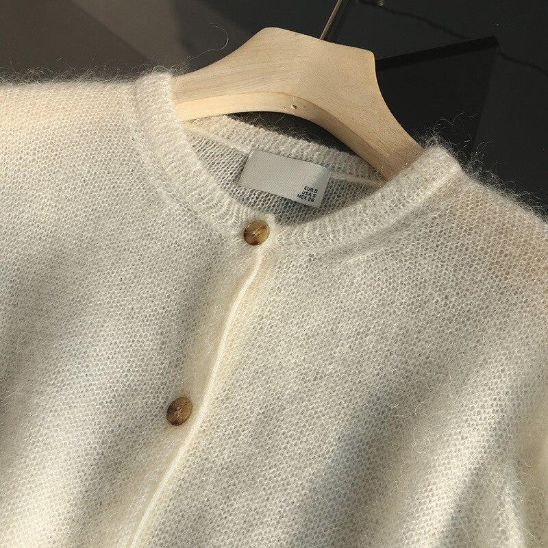 SHUCHAN 50% Mohair SWEATER WOMEN O-Neck Kimono Cardigan Thin High Street  Single Breasted Solid Full Sleeve Green White enlarge