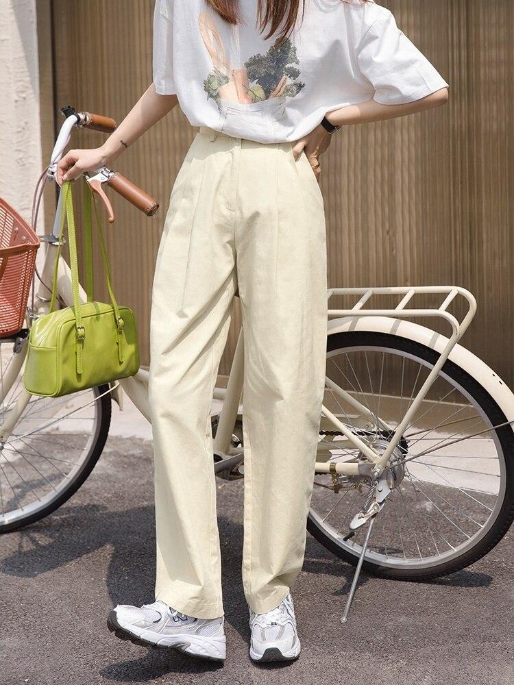 سراويل تقليدية للنساء ربيع 2021 جديد ارتفاع الخصر مستقيم أنبوب فضفاض واسعة الساق السراويل البيضاء