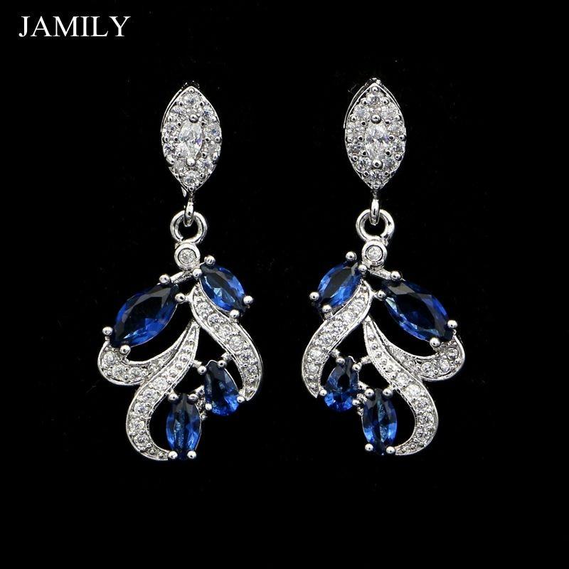 Модные длинные серьги с синим фианитом из серебра 925 пробы для женщин, милые романтические свадебные украшения, модные ювелирные изделия 2018