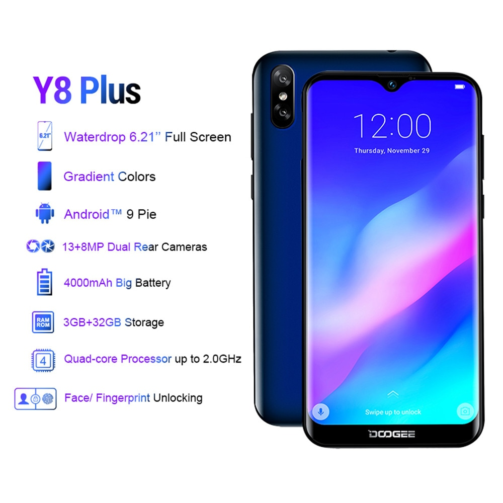 DOOGEE Y8 Plus смартфон, 3 Гб ОЗУ 32 Гб ПЗУ, Android 4000, экран 9,0 дюйма