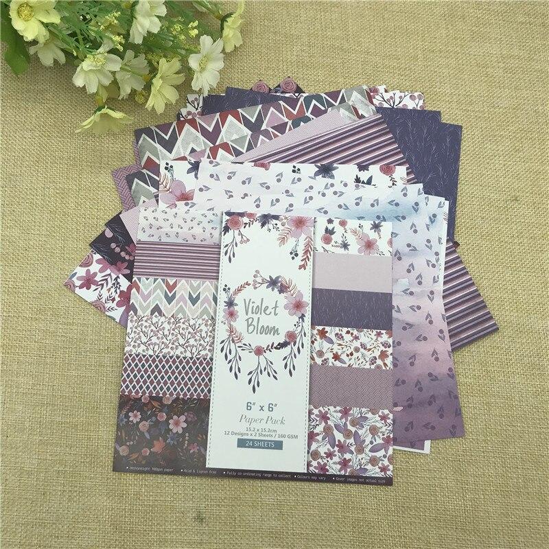 """24 листа 6 """"X 6"""" фиолетовое цветение цветка узорной бумаги Скрапбукинг бумажный пакет бумага для рукоделия ремесло фоновая накладка"""