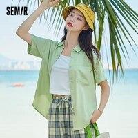 semir short sleeve shirt women loose new style 2021 spring and autumn short white ladies blouse retro hong kong style shirt