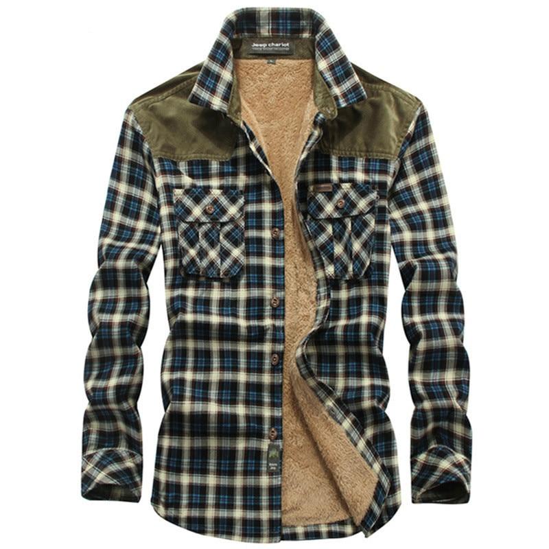 Zhan di ji pu marca Camisa a cuadros hombres 2019 Casual invierno grueso polar Mens camisas de manga larga 100% algodón Camisa social masculina