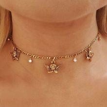 Модное золотистое колье-чокер с цепочкой и кристаллом ангела, вечерние ювелирные изделия на день рождения