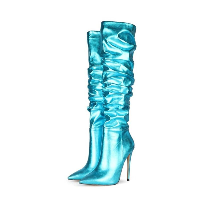 حذاء بوت نسائي بكعب عالٍ ، جزمة بمقدمة مدببة ، 10 سنتيمتر ، 12 سنتيمتر ، أزرق ، ذهبي ، فضي ، موضة جديدة