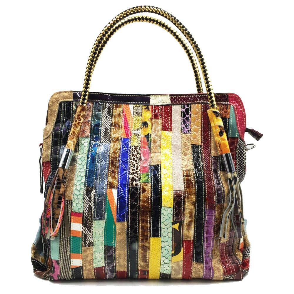 2020 Women's Big Hobo Genuine Leather National Elements Fashion Designer Shoulder Bag Rainbow Strap Black Snake Tassel Bag