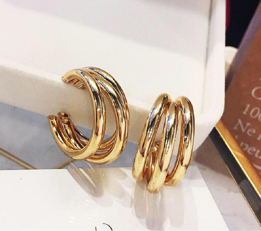 Korean Fashion Gold Pendant Earrings women's C-shaped punk big round geometric Earrings wedding party manifesto Earrings