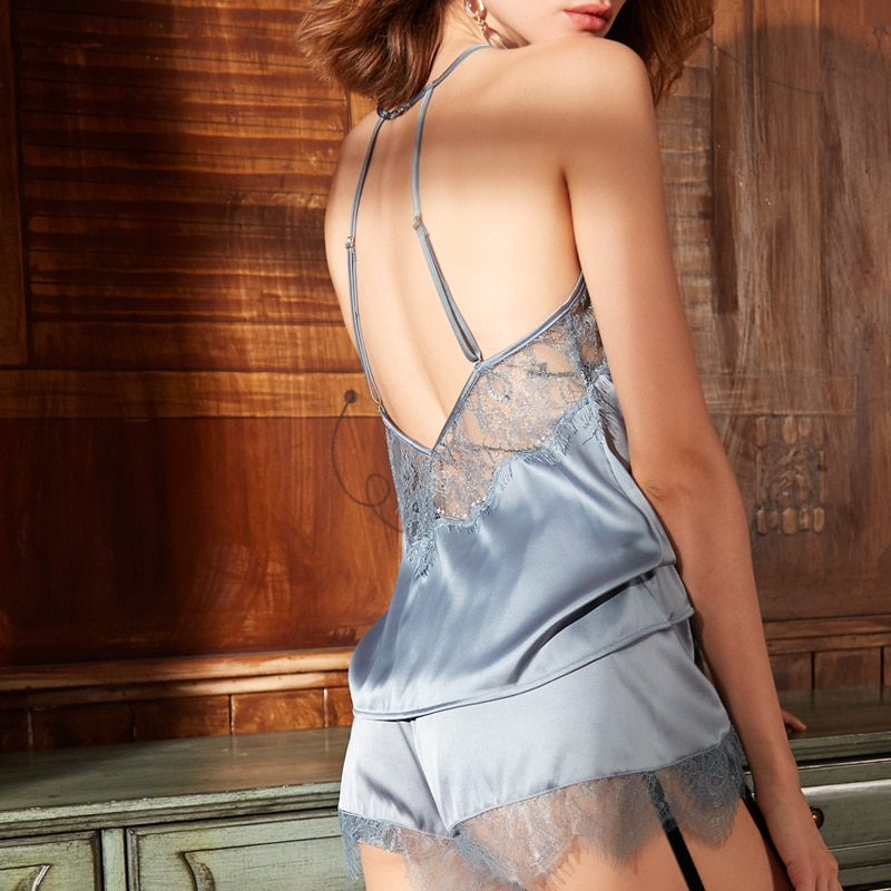 Sexy Nightwear Silk Lace Back Cross Strap Sleepwear Trim Satin Cami Top Pajama Sets Pijama Feminino tie back button detail cami top with skirt