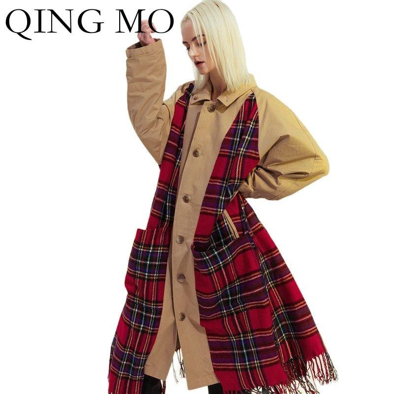 تشينغ مو 2021 جديد الشتاء النساء الملابس فحص هامش هيم خياطة المرأة خندق معطف عادية الوجهين سترة واقية سترة TT021Q