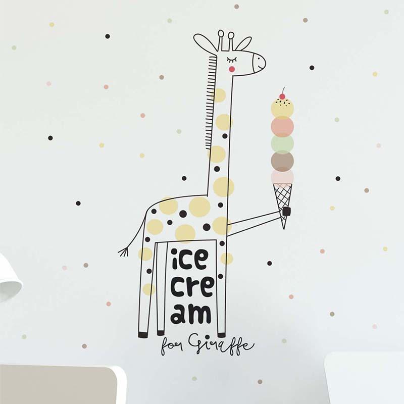 Zollor girafa dos desenhos animados sobremesa adesivo de parede adorável casa crianças sala estar quarto mural decalque janela porta berçário dormitório adesivo