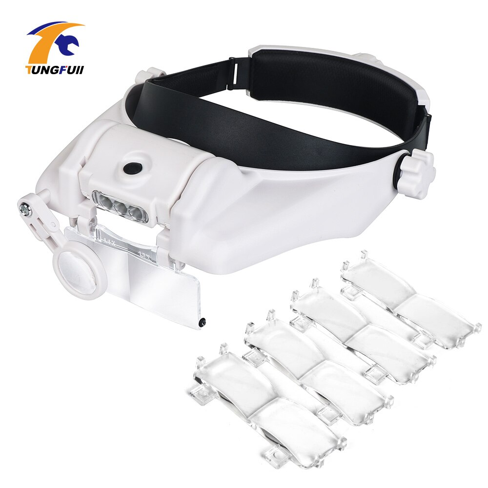 TUNGFULL Glasses Loupe Watchmaker Repair Tool Glasses Magnifier LED Headband Magnifying Glass 1.5x 2