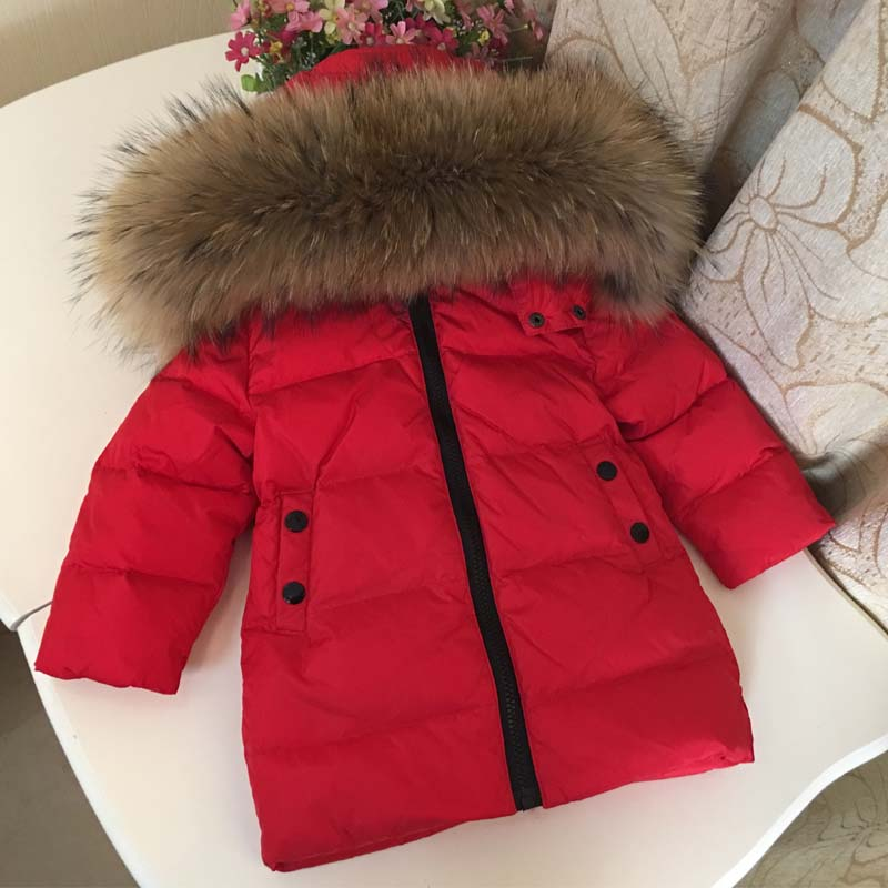 2021 Warm Down Baby Girl Jacket Real Fur Hooded Boy Coat Windproof Thick Warm Kids Parkas Outdoor Children Snowsuit Clothes enlarge