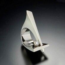 Unique dames petit rond Zircon anneau mode géométrique fête bagues pour les femmes Vintage argent couleur promesse bague de mariage