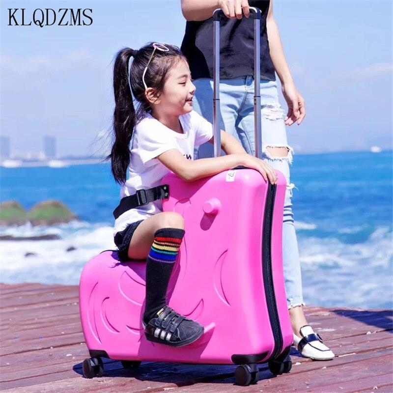 حقائب الأطفال المتحركة KLQDZMS مقاس 20 بوصة و24 بوصة عربة أطفال لطيفة للسيدات حقيبة أمتعة محمولة عربة أطفال حقائب سفر للأطفال