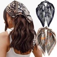 6060cm square silk scarf women headband fashion print neck scarfs office hair band hand kerchief female bandana