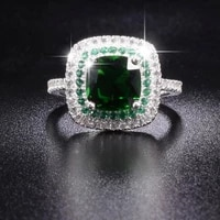 real solid 100 925 sterling silver wedding rings for women luxury 4ct square green gemstone engagement ring finger jewelry gift