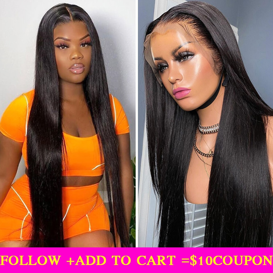 13x4 Straight Lace Front Human Hair Wigs For Women 28 Inch Transparent Lace Frontal Wigs Brazilian Remy 4X4 Closure Wigs