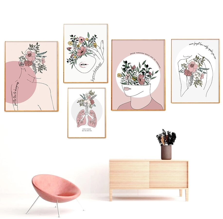 Nordic Wall Art Poster Abstract Canvas Painting Lines Posters Flower Paintings Face Print Moedrn Wall Pictures Home Decoration