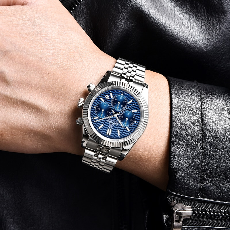 2021 New BENYAR Automatic Watch For Men Top Brand Quartz Mens Watches Chronograph Stainless Steel Waterproof Relogio Masculino enlarge