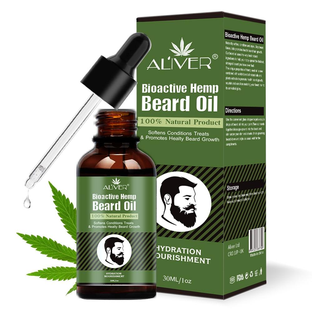 NEWEST 30ml Beard Growth Oil Natural Hemp Beard Essential Oil Beard Wax Balm for Men Beard Hair Groo