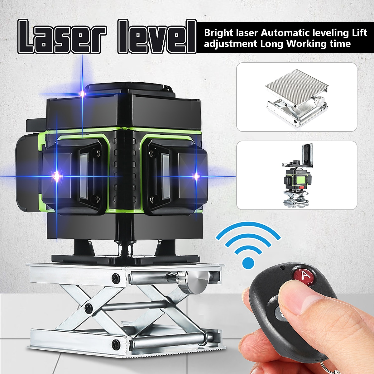 مستوى الليزر ثلاثي الأبعاد ذو 12 سطرًا ذاتي الاستواء ، مستوى ليزر أزرق متقاطع أفقي ورأسي بزاوية 360 درجة مع جهاز تحكم عن بعد