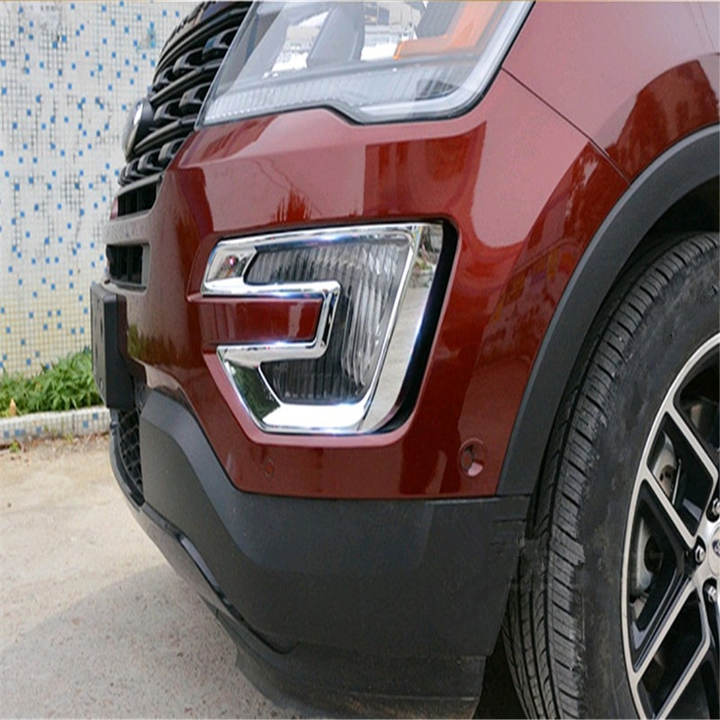 WELKINRY car auto cover styling for Ford Explorer 2016 2017 ABS chrome front head fog lamp light sticker moulding trim
