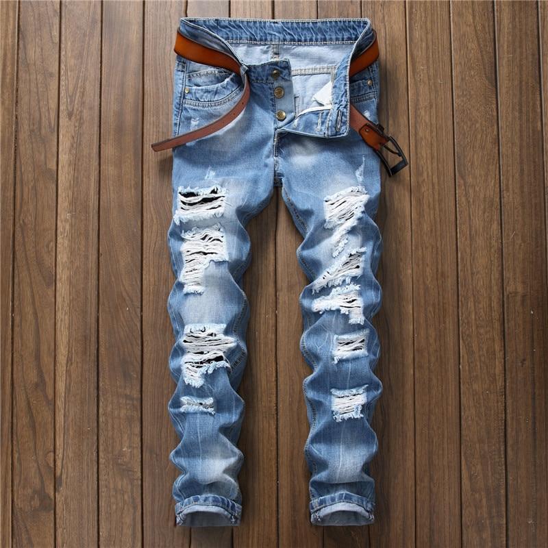 Модные мужские рваные джинсы с водной стиркой синие длинные узкие джинсы прямые джинсовые брюки мужские повседневные брюки