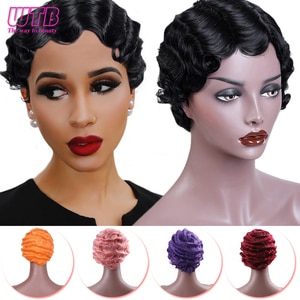 WTB Short Water Wave Black Wigs for Women Heat Resistant Synthetic Wavy Finger Cute Wigs African American Pixie Cut Wigs 7 Color