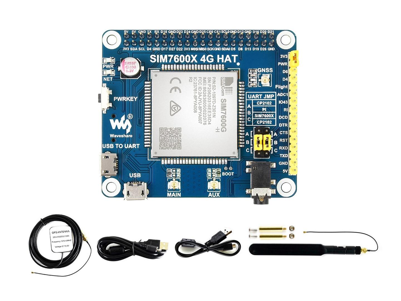 Waveshare SIM7600G-H 4G قبعة ل التوت بي ، LTE القط-4 4G / 3G / 2G دعم ، GNSS المواقع ، العالمية الفرقة