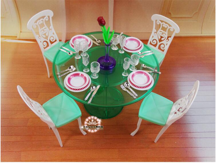 Genuine tableware for barbie dolls princess house furniture kitchen accessories 1/6 bjd doll dining table room set toy gift