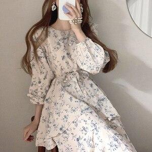 New Arrival One-Piece Korean Chic Ladies Dress Summer 2021 O Neck Double Layer Irregular Dress Floral Chiffon Dress Midi Dress