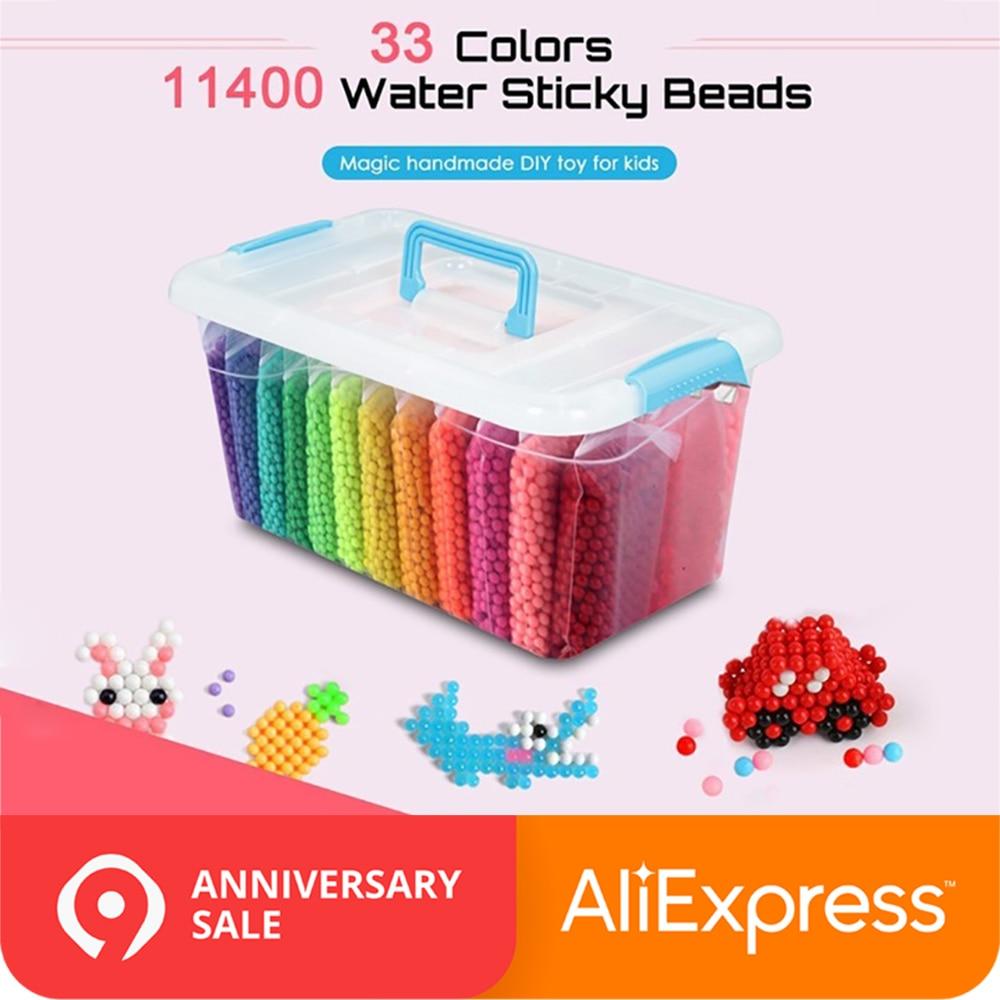 11400pcs Magic Water Sticky Beads Toys DIY Aquabeads Handmade Bead Toy Educational Puzzle Children Hama Aqua Bead for Girls Boys